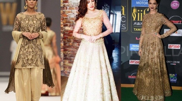 See Pakistani Golden Party wear Dresses