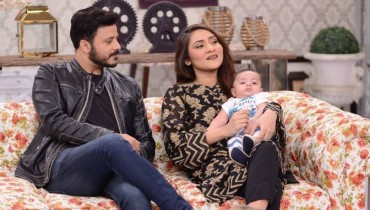 Seee Sana Askari with her Husband and son in Good Morning Pakistan
