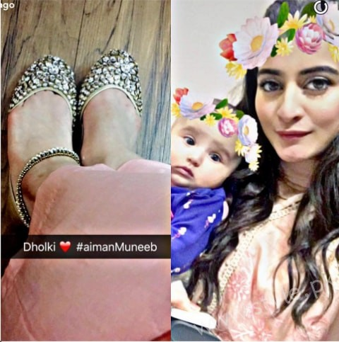 Aiman Khan and Muneeb Butt's First Dholki Pictures (6)