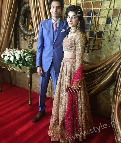 Mawra with her brother on Urwa and Farhans reception