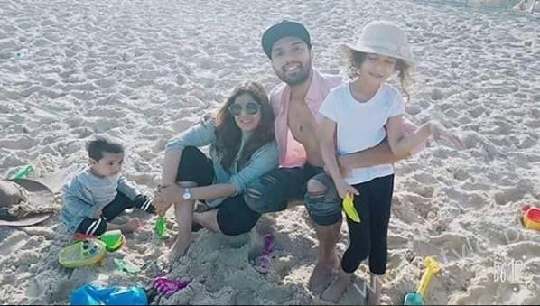 Fahad Mustafa With His Family In Qatar