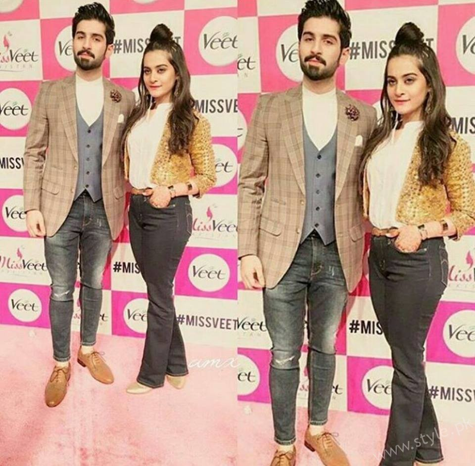 newly engaged couple aiman khan and muneeb butt at miss veet