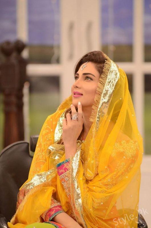 Fiza Ali In Bridal Dresses At Good Morning Pakistan Latest Bridal Fashion