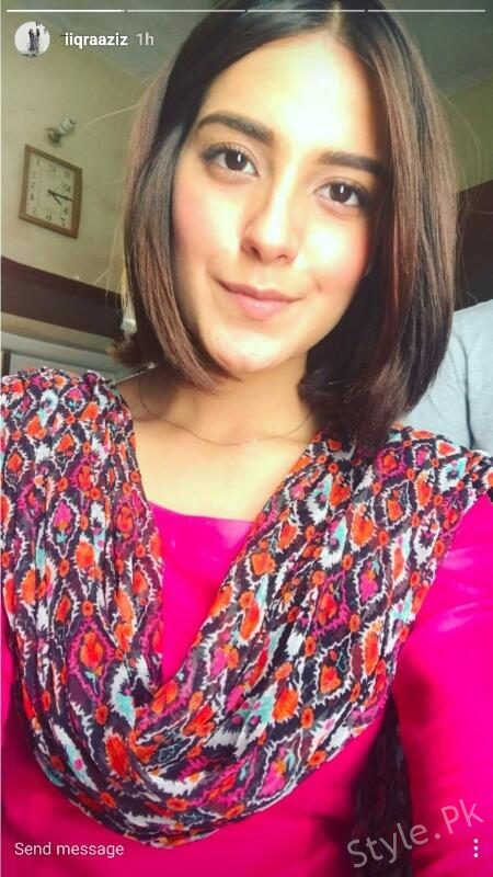 Iqra Aziz Looking Stunning In Her New Hair Cut Style Pk