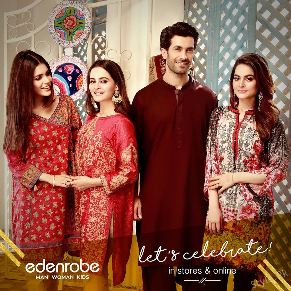 Beautiful Latest Eid Hairstyles Collection 2017 2018 For Women: Eden Robe Eid Collection 2017: Eden Robe Lawn Collection