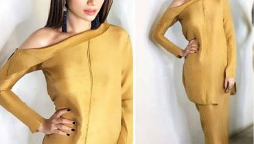 See Sana Javed looks fabulous in golden off shoulder outfit