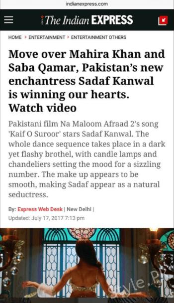 See After Sadaf Kanwal's item Number Bollywood Claims's She's better than Mahira Khan