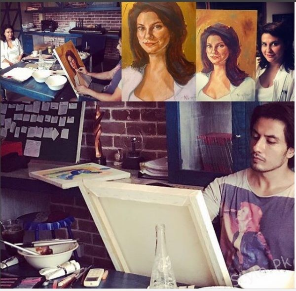 See Ali Zafar Painted Sanam Taseer's Picture