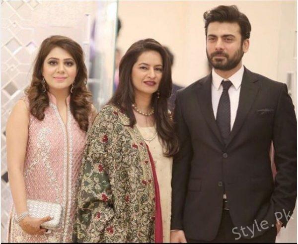 See Fawad Khan with Wife at Zara Shaheen's Barat