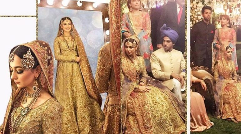 See Hania Amir makes a Stunning Bride in Nomi Ansari Outfit