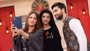 Ahad Raza Mir with his Mother in Nida Yasir Morning Show