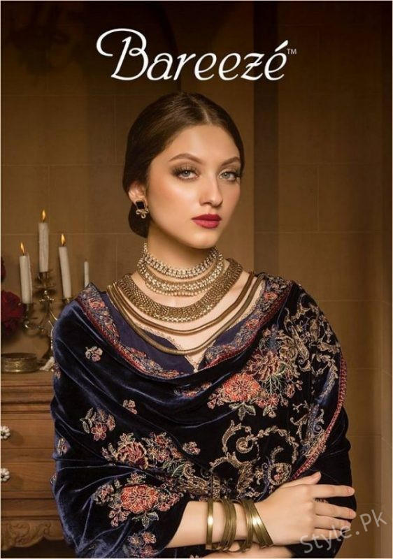 Bareeze Winter Dresses Collection Shawl Designs 2017 18