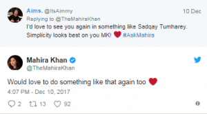 Mahira Khan  And The Jerjees Seja Talked About #AskMahira Session