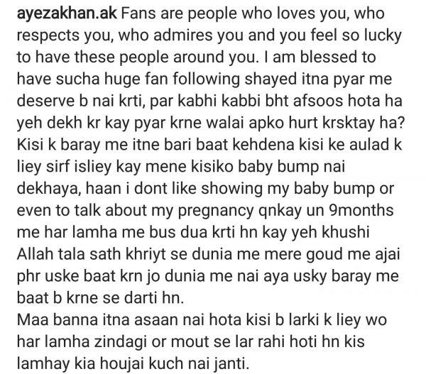 Don't Like To Show My Baby Bump- Ayeza Khan