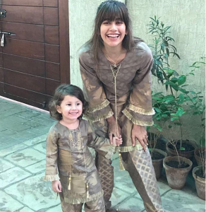 Cute Picture Of Nooreh Shahroz Posing Like Her Mother