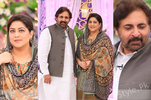 See Beautiful Couple Fazila Qazi and Qaiser Khan in ARY News Iftar Transmission