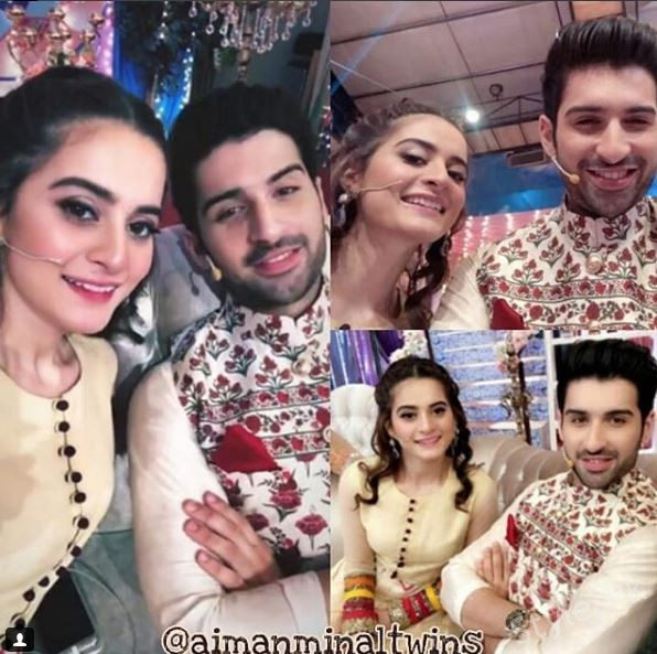 Aiman Khan And Muneeb Butt At The Recording Of Eid Show
