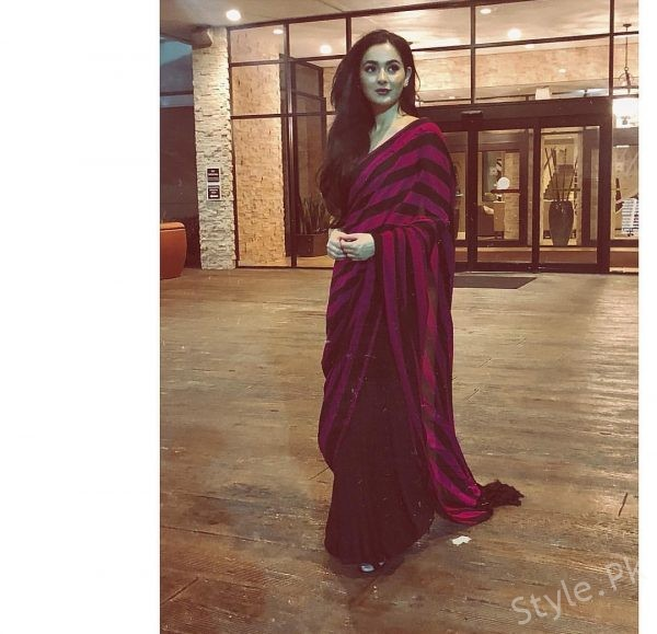 Hania Amir wearing a conventional saree by SFK!