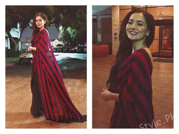 Hania Amir wearing a conventional saree by SFK! by Nimra Zafar